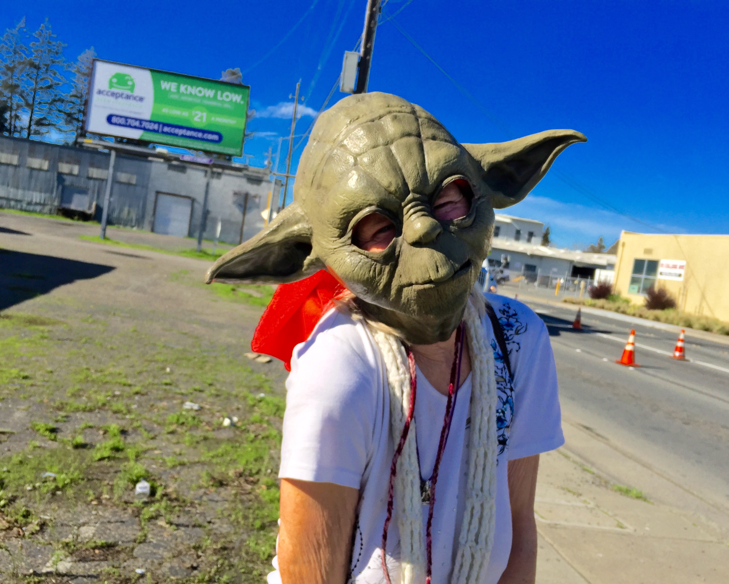 Elizabeth in her 10th Yoda Mask